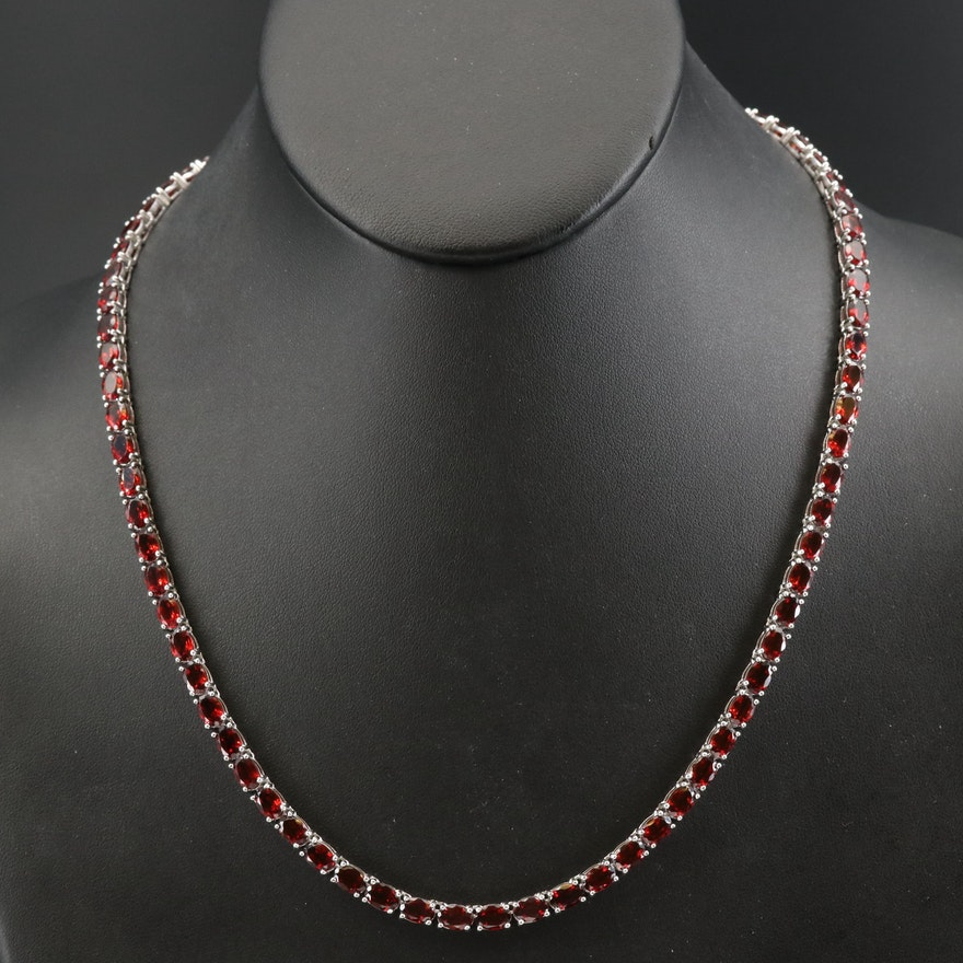 Sterling Garnet Line Necklace