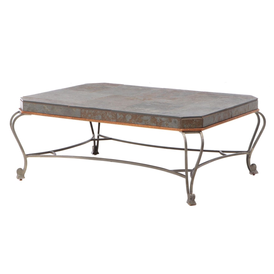 "Drexel Heritage ""Et Cetera"" Iron, Hardwood, and Slate Top Coffee Table"