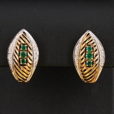 14K Two Tone Emerald and Diamond Navette Earrings