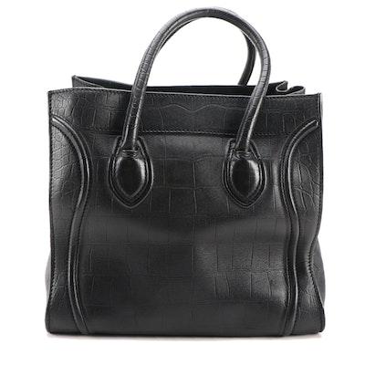 Céline Medium Phantom Luggage Tote in Black Embossed Leather