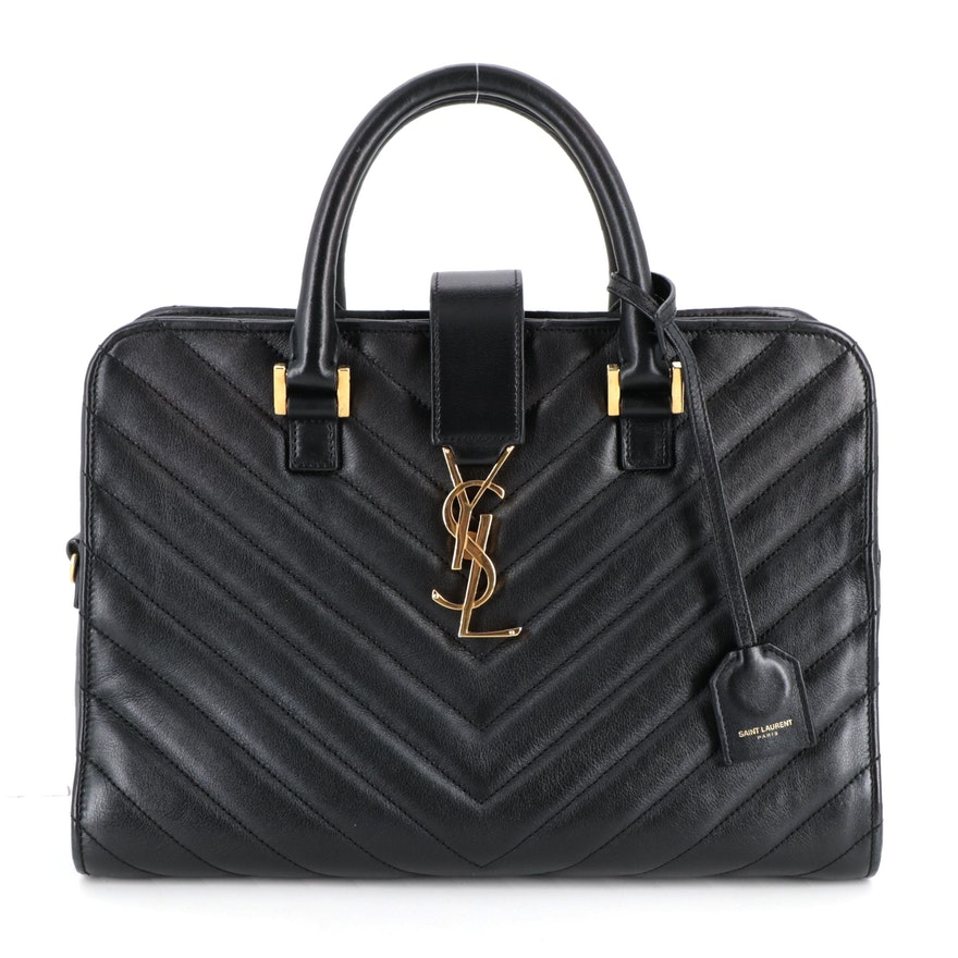 Yves Saint Laurent Quilted Chevron Black Leather Satchel