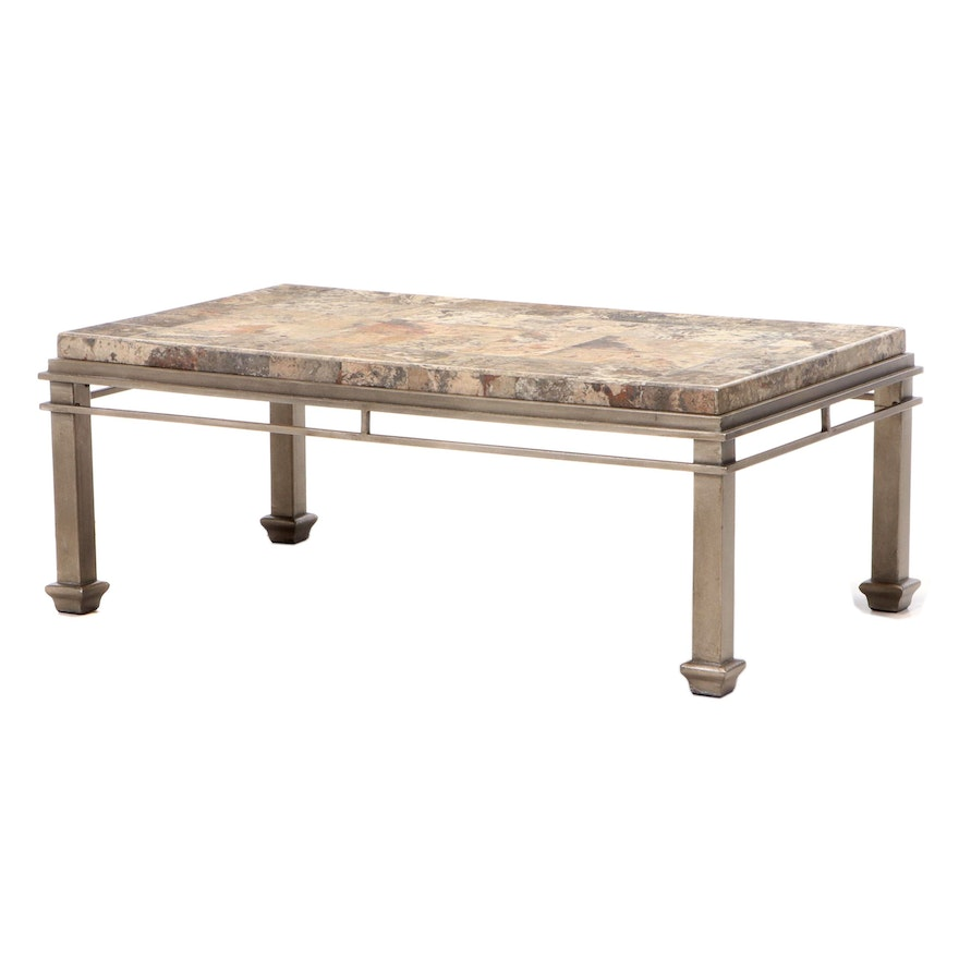 Faux-Stone and Patinated Metal Coffee Table