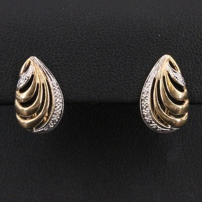 14K Two Tone Diamond Teardrop Earrings
