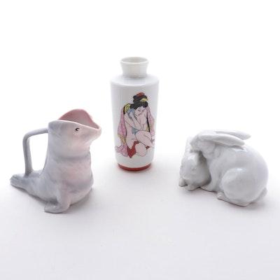 Royal Bayreuth Porcelain Seal Creamer with Other Porcelain Decor