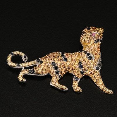 Sterling Sapphire Figural Feline Brooch