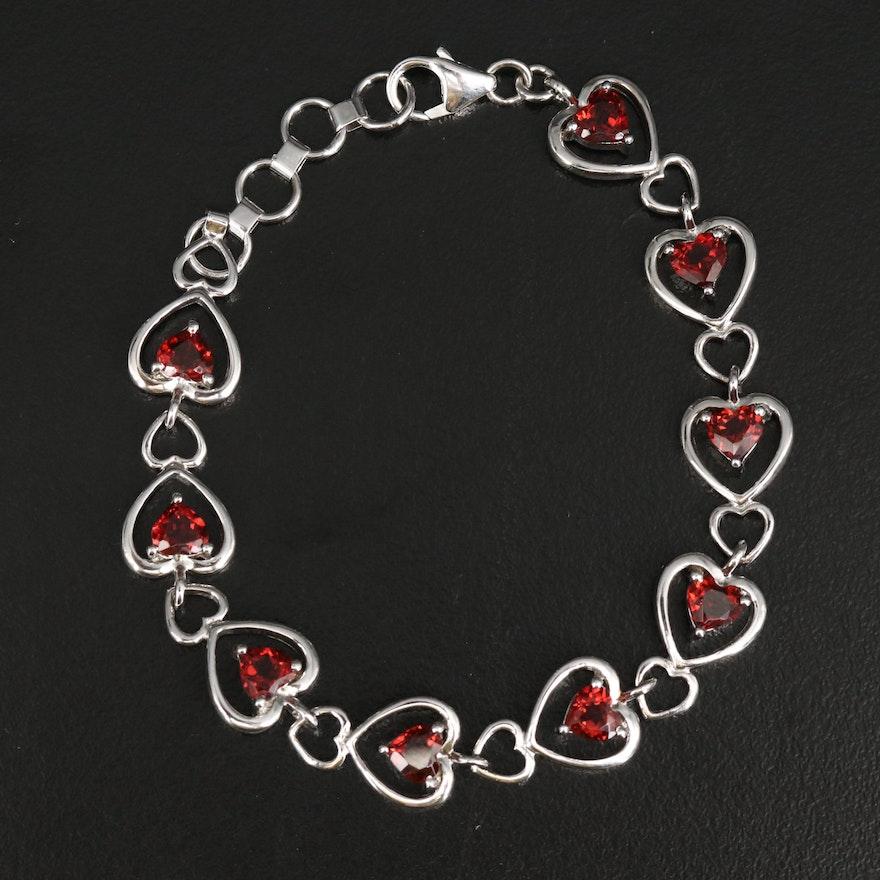 Sterling Garnet Heart Link Bracelet