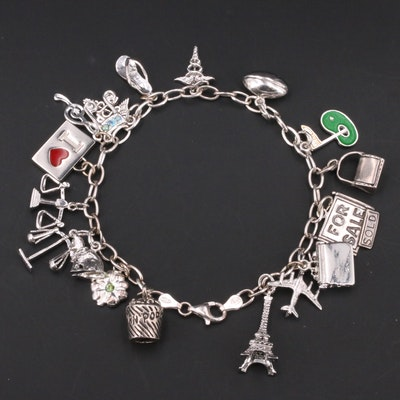 Sterling Charm Bracelet with Popcorn and Eiffel Tower Charms