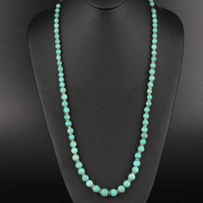Art Deco 14K Amazonite and Rock Quartz Crystal Beaded Necklace
