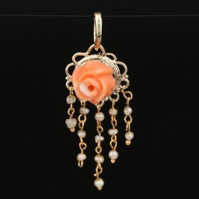 Vintage Carved 14K Coral Rose Pendant with Pearl Fringe