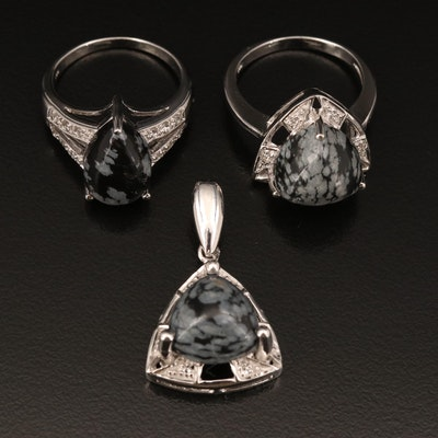 Sterling Rings and Pendant with Snowflake Obsidian and Sapphire