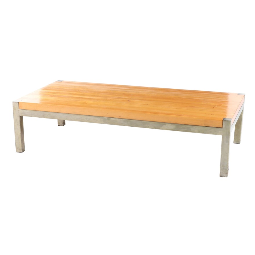 Chromed Metal and Maple Butcher Block Top Coffee Table