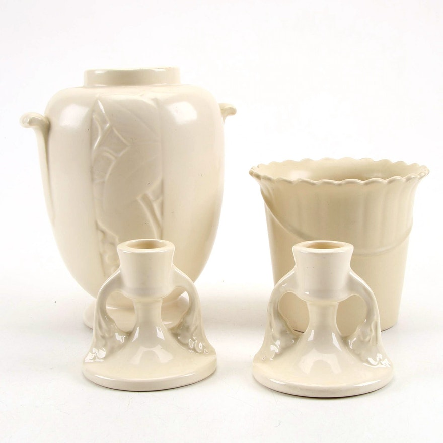 Weller Pottery Vase, Planter, and Candle Holders, Early to Mid 20th Century