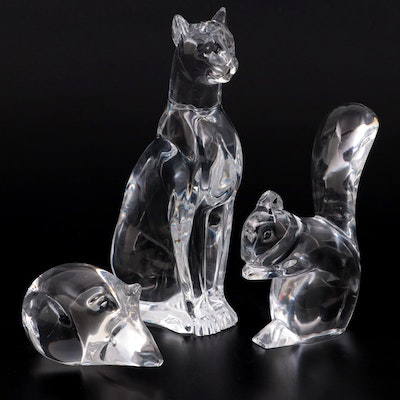 """Baccarat """"Egyptian Cat"""" and Squirrel Crystal Figurines with Other Crystal Mouse"""