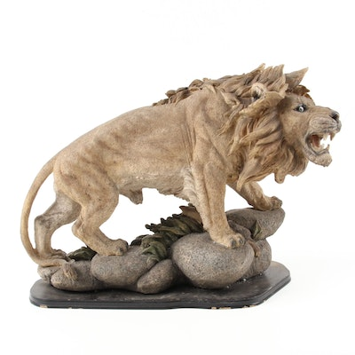 Chinese Roaring Lion Composite Figure on Wood Base, Late 20th Century