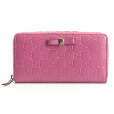 Gucci Bow Guccissima Pink Leather Zip Wallet