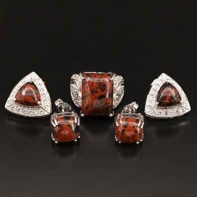 Sterling Ring and Earrings with Mahogany Obsidian and Topaz