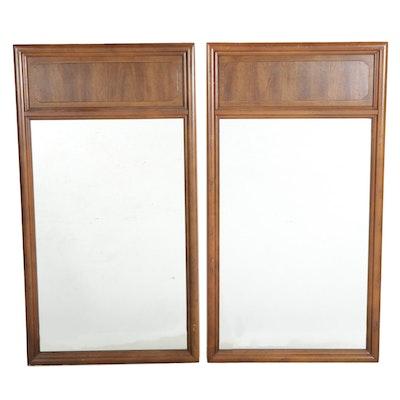 Pair of Mid Century Modern Walnut Wall Pier Mirrors, Mid to Late 20th Century