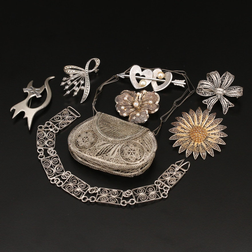 Vintage Grouping Including Pearl, Marcasite, Coin Purse in Mixed Metals