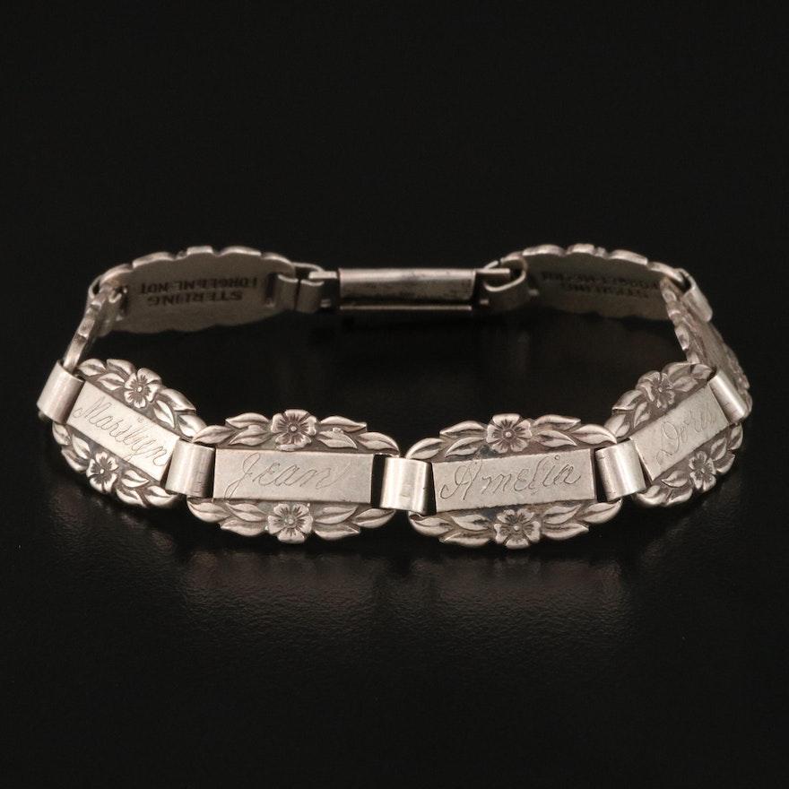 Vintage Forget Me Not Sterling Silver Bracelet