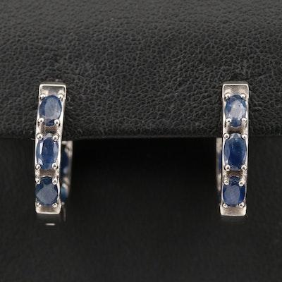 Sterling Silver Sapphire Inside-Out Hoop Earrings