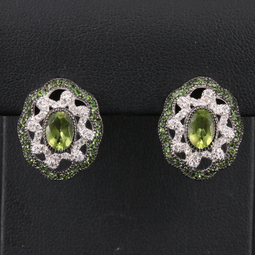 Sterling Peridot, Topaz and Diopside Button Earrings
