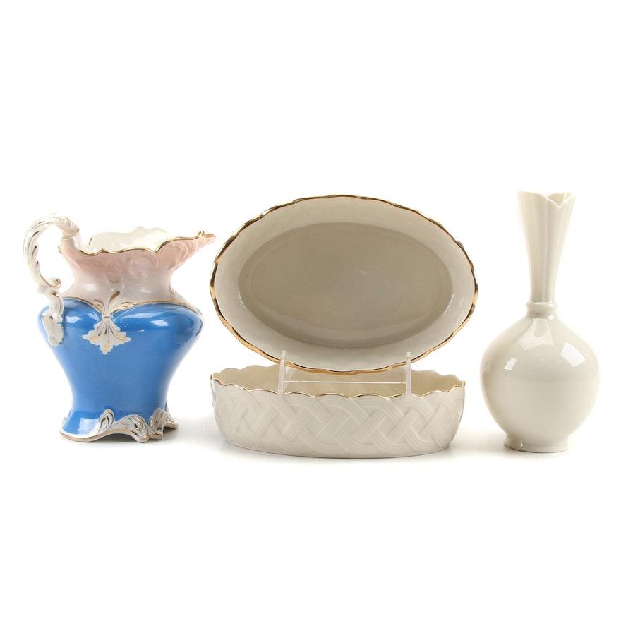 "Lenox ""Lattice Collection"" Porcelain Bowls, Bud Vase and Alpha Pitcher"
