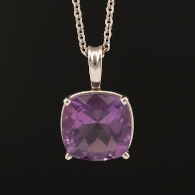 14K Square Faceted Amethyst Pendant Necklace