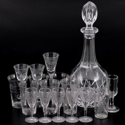 Crystal Decanter with Etched Glasses and Cordials, 20th Century