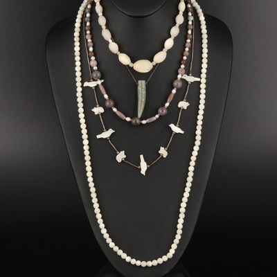 Beaded Mother of Pearl, Agate and Jasper Necklaces Including Sterling