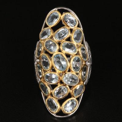 Sterling Silver Goshenite Oval Cluster Ring