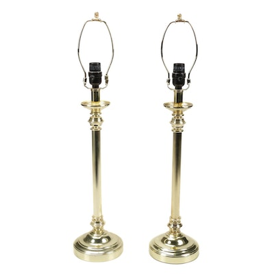 Lacquered Brass Candlestick Column Table Lamps