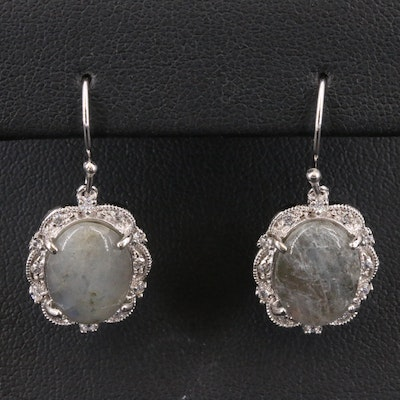 Sterling Labradortie and Cubic Zirconia Dangle Earrings with Milgrain Detail