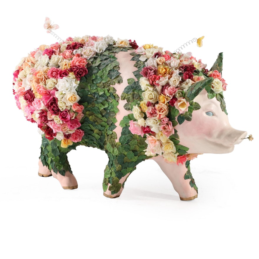 "Linda Kreidler ""The Days of Swine and Roses"" Cincinnati Big Pig Gig Sculpture"