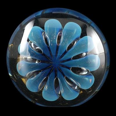Robert Eickholt Handblown Art Glass Dichroic Paperweight, 2008