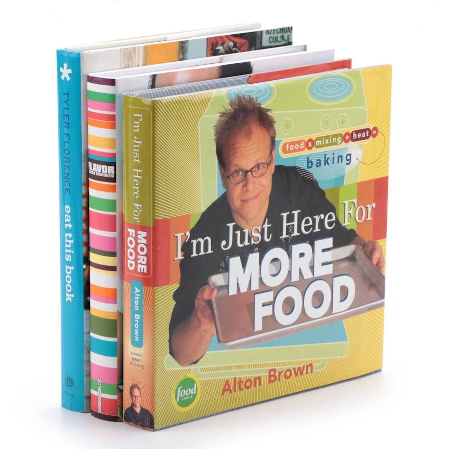 """Signed """"I'm Just Here for More Food"""" by Alton Brown and More Cookbooks"""