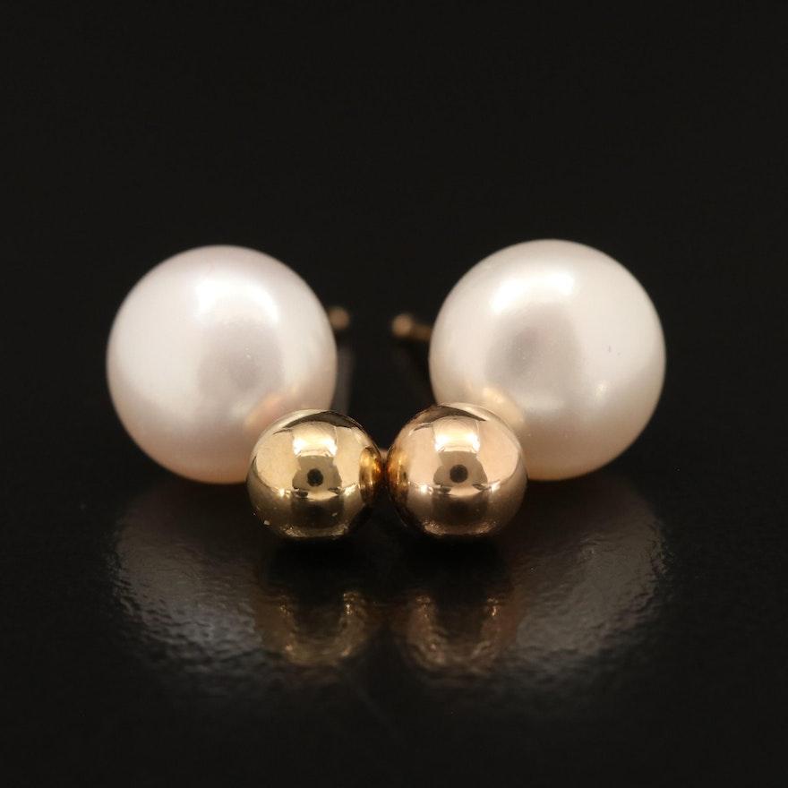 14K Pearl Stud Earrings with Gold Ball Stud Earrings