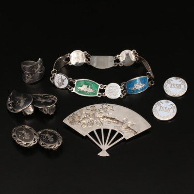 Sterling Jewelry Selection Featuring K. Uyeda Fan Brooch and Niello Earrings