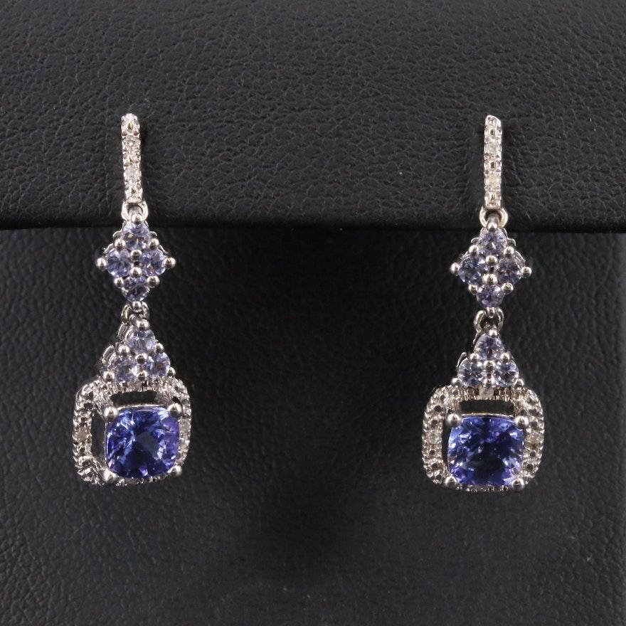 Sterling Tanzanite and Diamond Drop Earrings