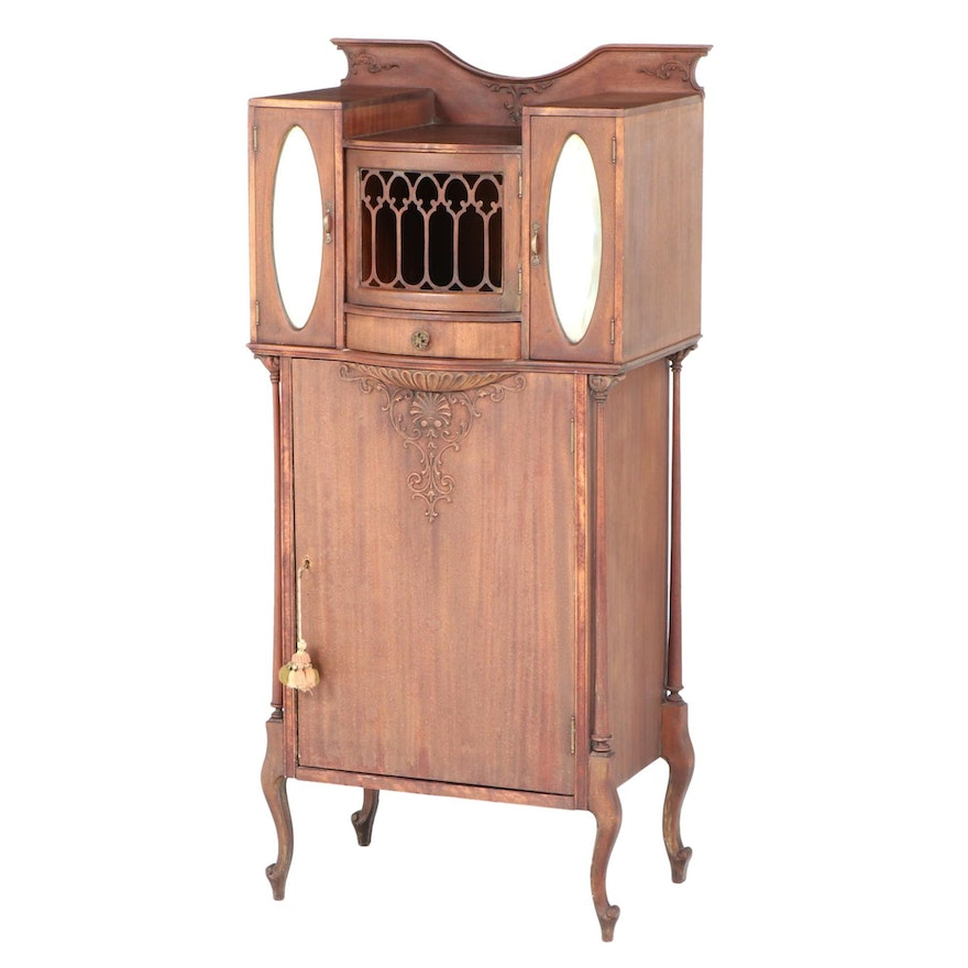 Art Nouveau Mahogany and Mirrored Glass Sheet Music Cabinet, Early 20th Century