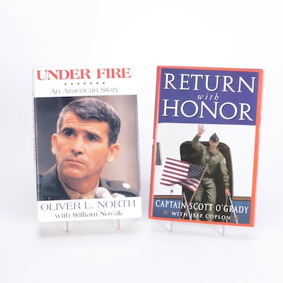 """Signed """"Return with Honor"""" by Scott O'Grady and """"Under Fire"""" by Oliver North"""