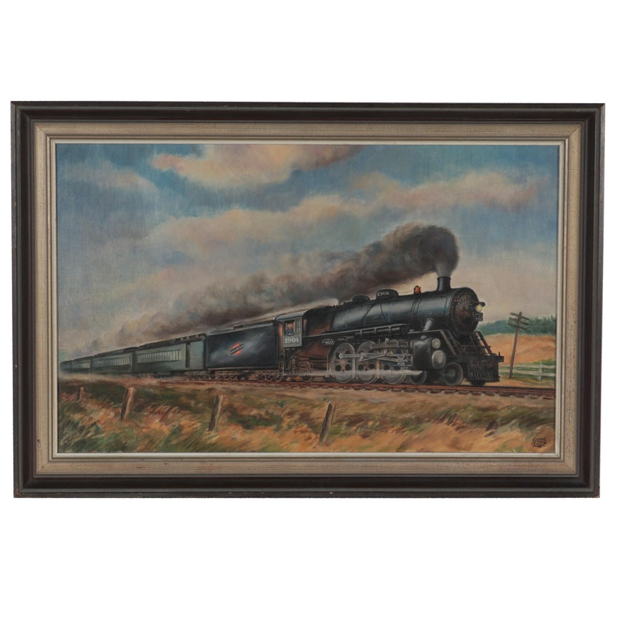 Einar Quist Oil Painting of Chicago North Western Line, Early 20th Century