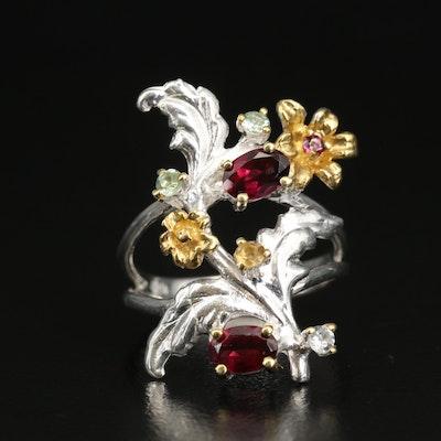 Sterling Rhodolite Garnet, Citrine and Prasiolite Floral Ring