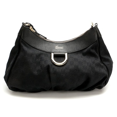 Gucci Abbey D-Ring Hobo Bag in Black GG Canvas and Leather