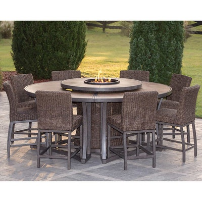 Agio Eleven-Piece Resin Wicker Bar Height Fire Pit Dining Set