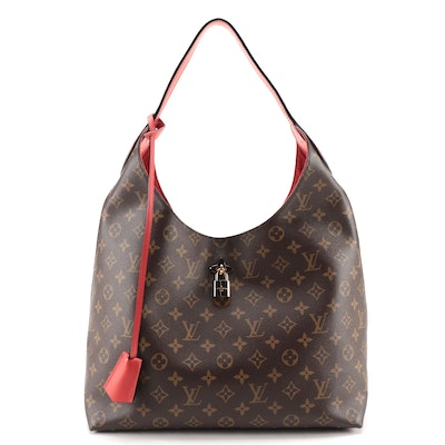 Louis Vuitton Flower Hobo Bag in Monogram Canvas with Red Leather Trim