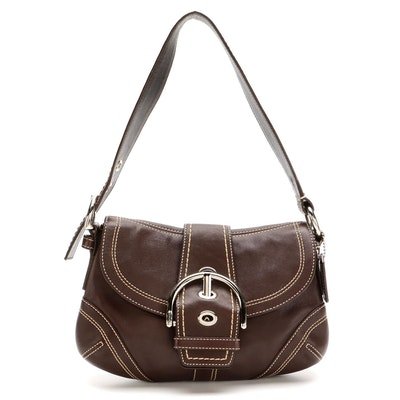 Coach Soho Buckle Flap Front Shoulder Bag in Brown Leather