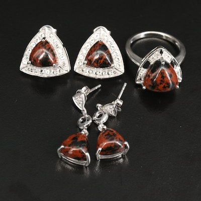 Sterling Mahogany Obsidian and Topaz Earrings and Ring