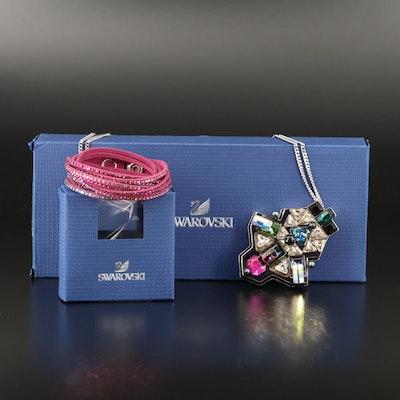 """Swarovski  """"Buzz"""" Geometric Necklace and Suede Wrap Bracelet"""