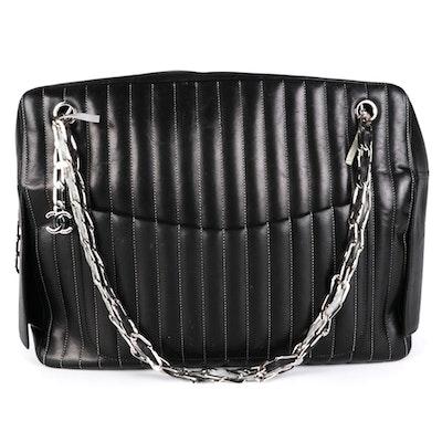 Chanel Black Matelassé Style Leather Shoulder Bag