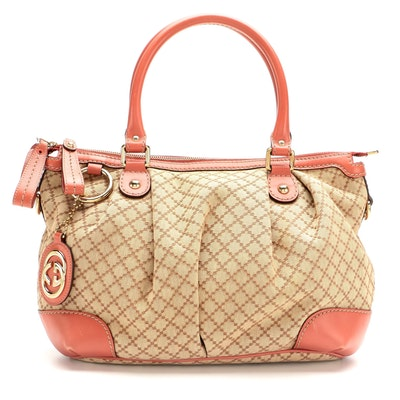Gucci Sukey Medium Two-Way Satchel in Diamante Canvas and Blush Leather